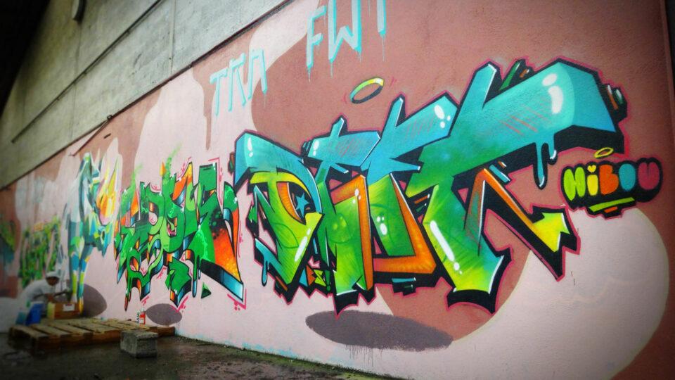Ambiance fresque graffiti à Clermont-Ferrand, avec Rino et Epok