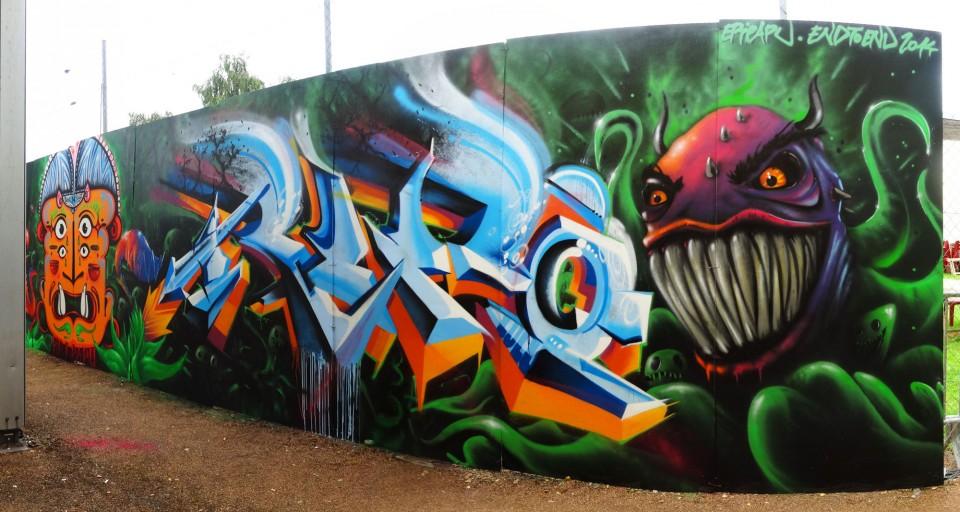 Fresque graffiti, festival epipapu, la châtre, indre, plante carnivores