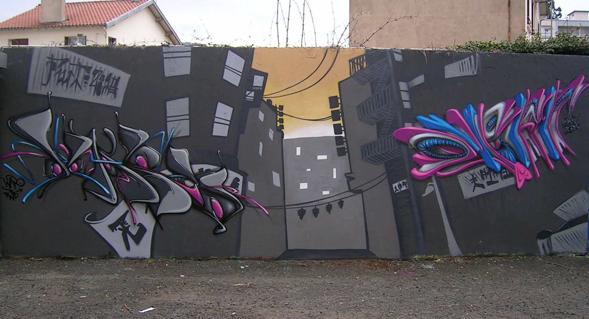 Waro & Deft - Fresque China Town - Graffiti
