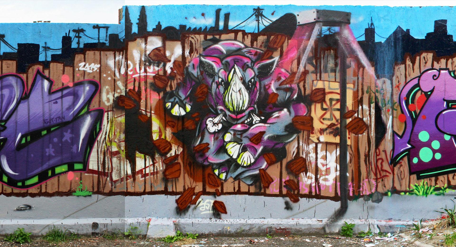 Rino - Fresque Pallissade - Graffiti