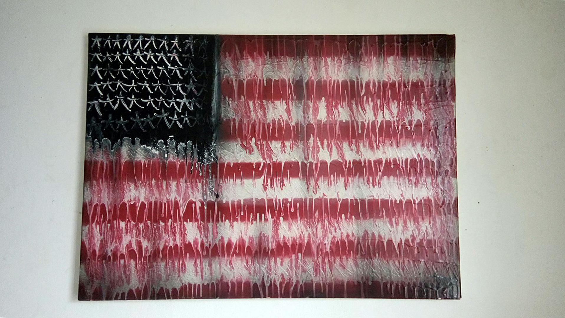 Deft - Tableau - Drapeau USA - Graffiti - Street Art