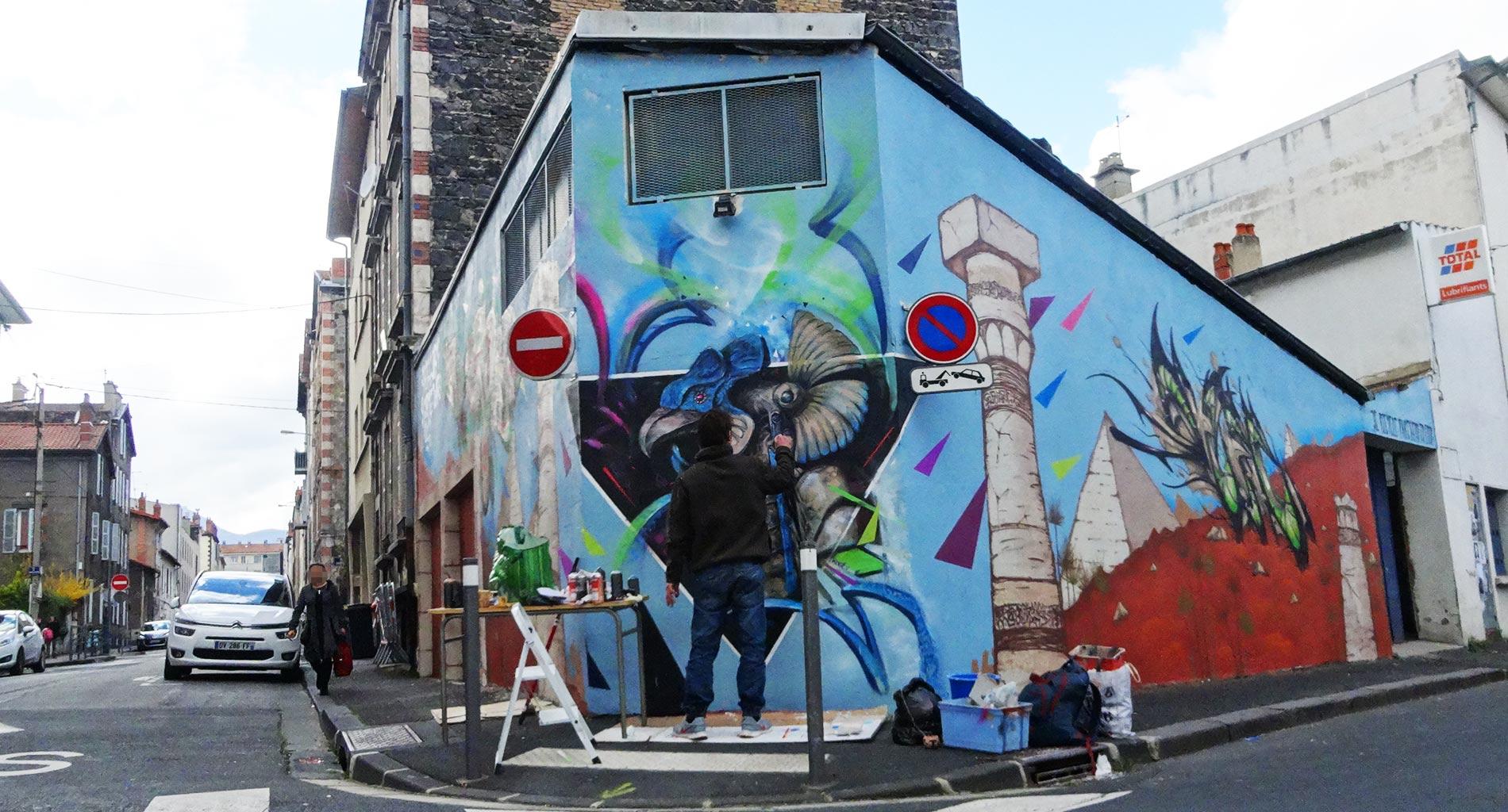 Apogé - Fresque Pyramide - Graffiti - Clermont-Ferrand