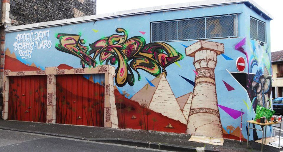 Waro - Fresque Pyramide - Graffiti - Clermont-Ferrand