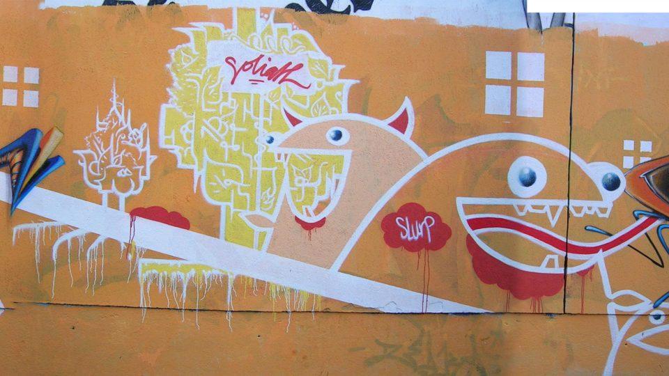 Goliath - Riom - Graffiti - Mur de la piscine