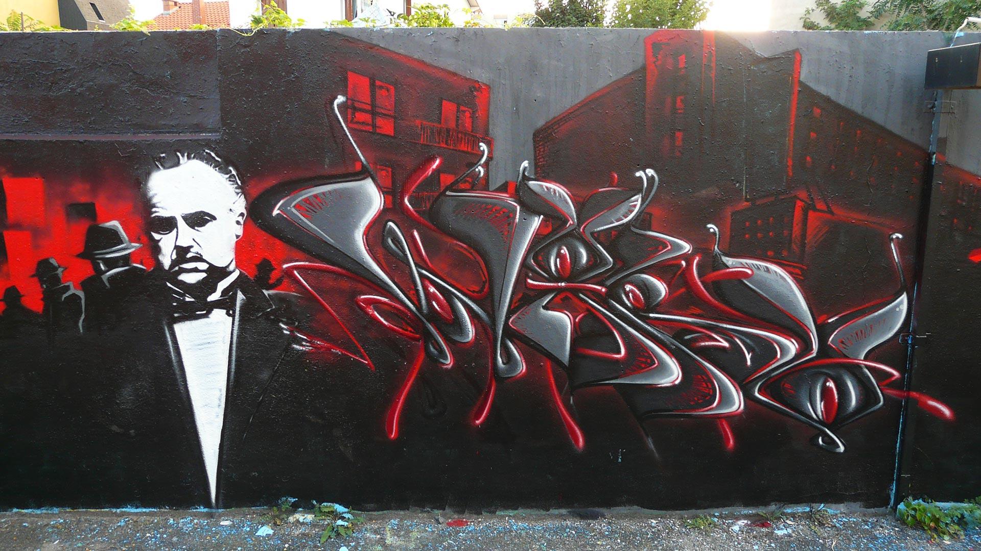 Epok & Waro - Fresque Mafiosa - Le Parrain - Graffiti