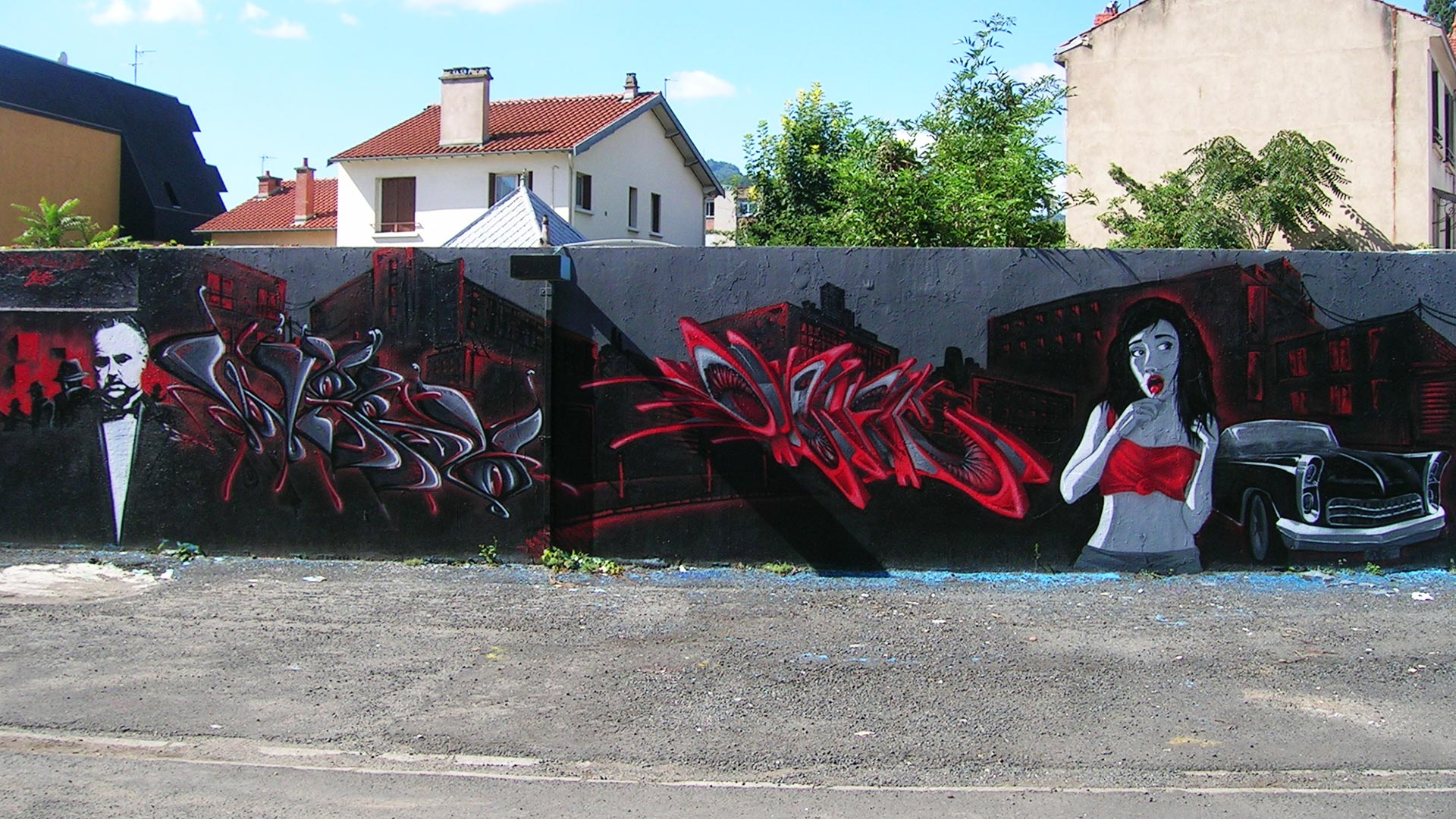 Epok, Waro & Deft - Fresque Mafiosa - Le Parrain - Graffiti