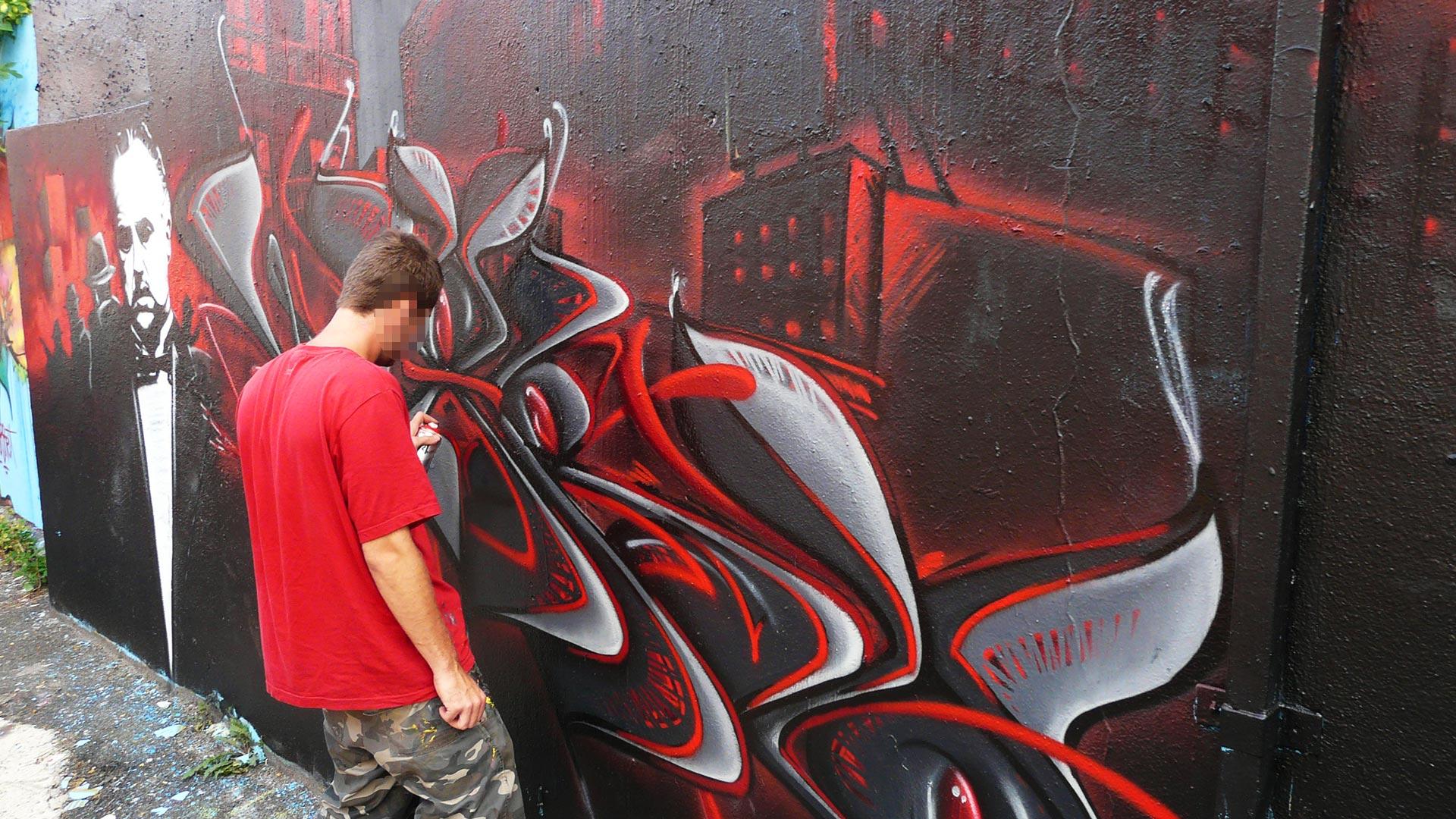 Waro - Fresque Mafiosa - Le Parrain - Graffiti