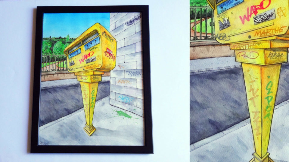 Boite aux lettres jaunes - Graffiti - Aquarelle