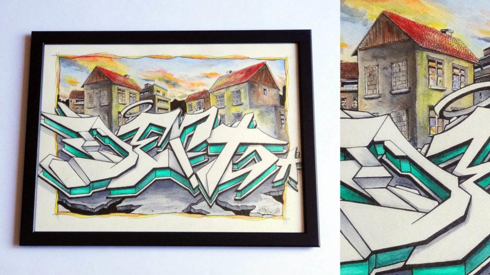Aquarelle - Deft - Graffiti - Street-Art