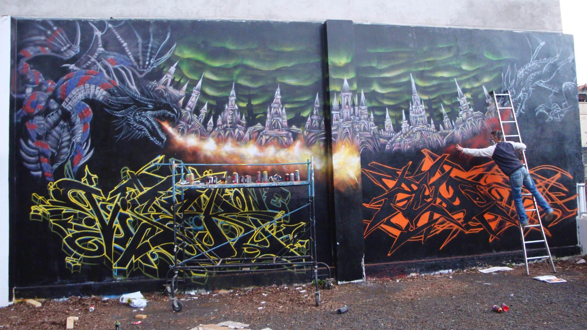 Vizer, Awok, Epok & Deft - Fresque Dragon - Graffiti - Clermont-Ferrand